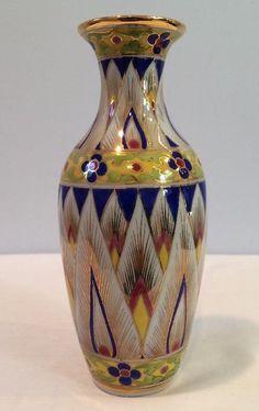"VTG 1980's Porcelain 6-3/4"" Bud Vase Geometric & Flowers Hand Painted Thailand"