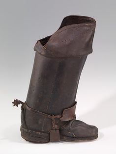 Boots (Jackboots)  Date: 18th century Culture: British Medium: leather Dimensions: (a): 12 1/2 x 18 1/2 in. (31.8 x 47 cm) (b): 7 x 10 1/2 in. (17.8 x 26.7 cm) Credit Line: Brooklyn Museum Costume Collection at The Metropolitan Museum of Art, Gift of the Brooklyn Museum, 2009; Gift of Herman Delman, 1954 Accession Number: 2009.300.2783a, b