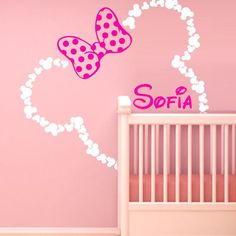 46x42'' Mickey Mouse Ears Minnie with Bow Personalized Baby Name Wall Decal Decor Decals Color Sticker Art Nursery Decor Custom Nursery Surface Bed M1604 Maden in USA DecorWallDecals http://www.amazon.com/dp/B017W6ZMX4/ref=cm_sw_r_pi_dp_GWlrwb18VSDT4