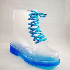 Women's Transparent Martin Rain Boots Shoes Ladies Waterproof ...