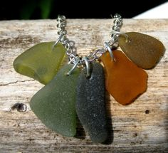 Hawaiian Rare Colors of Beach Glass -olive green to ambers- Charm Necklace.  Handmade with Aloha!!! only $24.50