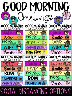 Greeting students in the morning will set a positive tone each day. Help your students feel welcome and safe the moment they arrive!  Best of all, these morning greeting signs will help strengthen relationships by offering choices, and by providing an opportunity for brief chit-chat and personal connections.