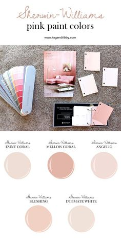 from soft corals to blush, the best 5 pink Sherwin-Williams paint colors - The Best 5 Pink Paint Colors — Tag & Tibby Design Pink Paint Colors, Bedroom Paint Colors, Interior Paint Colors, Blush Pink Paint, Soft Pink Color, Gray Paint, Playroom Paint Colors, Light Pink Paint, Light Paint Colors