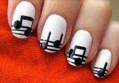 fashion, nail art , musical notes