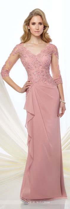 Formal Evening Gowns by Mon Cheri - Fall 2016 - Style No. 216965 - chiffon evening gown with illusion lace sleeves More