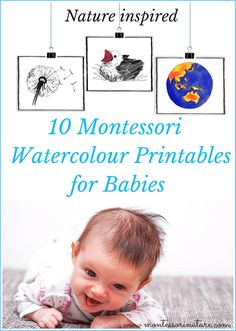 Montessori Nature: 10 Montessori Watercolor Cards for Babies. Inspired by Nature
