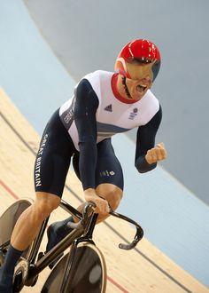 2012 London Olympic Games track day 1  Sir Chris Hoy celebrates mission accomplished. Photo: Casey B. Gibson | www.cbgphoto.com