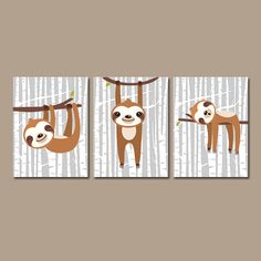 SLOTH Wall Art Safari Animal Nursery CANVAS or Prints Baby