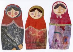ad collaged russian dolls from Spain.I have just spent nearly 3 weeks in beautiful sunny Spain, but not being one for sunbathin. Small Sewing Projects, Sewing Crafts, Kid Crafts, Chagall, Puppet Making, Textiles, Matryoshka Doll, Effigy, Old Paintings