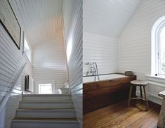 wood panelled walls and whitewashed stairs