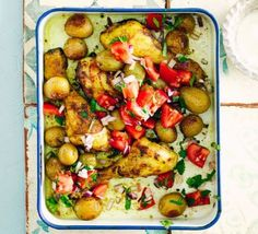 A healthy one-pan traybake with new potatoes, chicken and peppers with garam masala, turmeric, ginger and garlic - lightly spiced and ideal for a family supper Bbc Good Food Recipes, Cooking Recipes, Healthy Recipes, Bbc Recipes, Roast Recipes, Free Recipes, Yummy Food, Tray Bake Recipes, Dinner Recipes