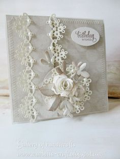 Gallery of handicrafts: Krem kawowy Wedding Cards Handmade, Beautiful Handmade Cards, Pretty Cards, Cute Cards, Shabby Chic Cards, Wedding Anniversary Cards, Heartfelt Creations, Card Making Inspiration, Flower Cards