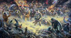Heroic Russian troops repulsing German stormtroopers