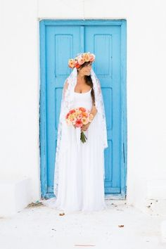 shades of peach and blue destination wedding in Mykonos, Greece - photo by Rossini Photography