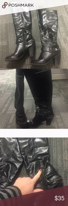 Black Wide Calf Heeled Boots Pink & Pepper thick heeled black boots in good condition. Very comfortable and easy to walk in. Purchased at Macy's and all man made materials. Only markings are shown in images (near zipper and on heel). These will fit wide calf! Wide calf boots 😊 Pink & Pepper Shoes Heeled Boots