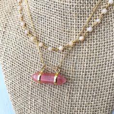 Quartz Necklace  Crystal Necklace Coral Aventurine by LoveMyssa