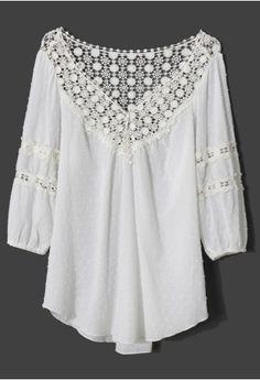 7cfa2006c9921b Polka Dots Crochet Collar Mid-Sleeve White Top - Retro
