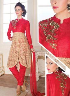 Red & Beige designer Indian Punjabi suit in net & silk J15166
