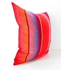Amazon.com: Mexican Pillows, Serape Pillow Covers, Red, Blue, Green, Yellow Striped, Mexican Cushion, 20 Inch Pillow Decorative Cover: Home & Kitchen