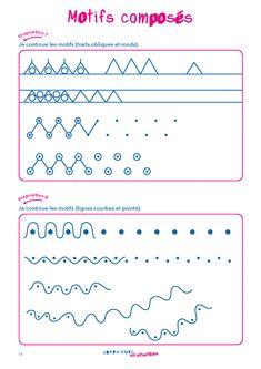 Une fiche d'activité en graphisme pour la MS et la GS pour consolider la capacité à tracer des motifs composés. Petite Section, Pre Writing, Writing Activities, Art Therapy, Fine Motor Skills, Pediatrics, Montessori, Preschool, Notebook