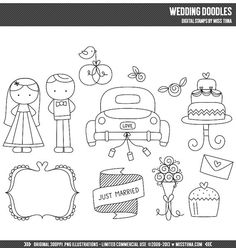 Wedding Doodles Digital Stamps Clipart Clip Art Illustrations - instant download - limited commercial use ok
