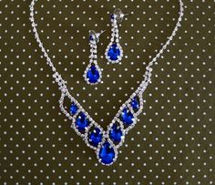 This vintage style sapphire blue rhinestone crystal crystallized white pearl bridal set is breathtaking for all occasions; weddings,
