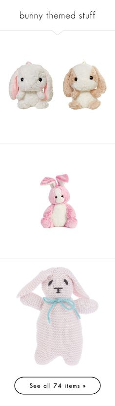 """""""bunny themed stuff"""" by annemariye on Polyvore featuring bags, fillers, backpack, stuffed animals, toys, plushies, animals, filler, plush ve fillers - pink"""