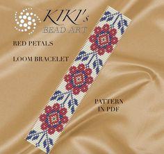 Bead loom pattern  Red petals flowery LOOM bracelet pattern