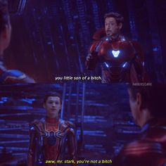 Tony Stark And Peter Parker Funny Marvel Memes, Marvel Jokes, Dc Memes, Marvel Avengers, Funny Memes, Avengers Cast, Young Avengers, Hilarious, Spider Man