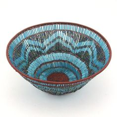 Africa | Beaded Basket | Handcrafted from copper wire and glass beads by Zulu women in South Africa