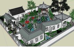 20 Kinds of Chinese Landscape Sketchup Models(Best Recommanded!) The post 20 Kinds of Chinese Landscape Sketchup Models(Best Recommanded!) appeared first on Dekoration. Chinese Courtyard, Chinese Garden, Landscape Model, House Landscape, Sims 4 House Design, Landscape Arquitecture, Asian House, Neoclassical Interior, Studio Apartment Layout