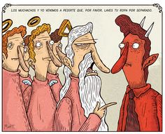God and his possy asking the devil to please! Do his laundry separately!   By Alberto Montt