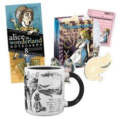 Unemployed Philosophers Guild: Alice In Wonderland Set, at 15% off! - 12 oz mug. Card set includes 8 cards—2 of each character and 4 sticker sheets. Characters include Alice, the Red Queen, the Mad Hatter, and the White Rabbit.  The Unemployed Philosophers Guild donates some of its profits to CJA (The Center For Justice and Accountability); Women for Afghan Women; Doctors Without Borders/Médecins Sans Frontières; New Yorkers Against Gun Violence; Kids For A Better Future; and Grist.