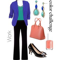 Work Wear - cobalt blue jacket with turquoise shell and black pants