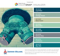 I found these colors with ColorSnap® Visualizer for iPhone by Sherwin-Williams: Loyal Blue (SW 6510), Vintage Vessel (SW 9050), Baize Green (SW 6429), Retro Mint (SW 9036), Oceanside (SW 6496), Serious Gray (SW 6256), Larchmere (SW 6752), Blue Nile (SW 6776).
