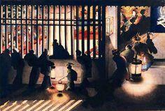 katsushika oui 葛飾応為 mid19c Yoshiwara Night Scene 吉原格子先之図