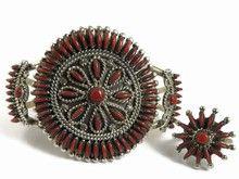 Zuni Indian Mediterran Coral Needle Point Bracelet and Ring Set by Eva Wyaco from Southwest Silver Gallery http://www.southwestsilvergallery.com/AWSCategories/p/57/Gemstone-Bracelets