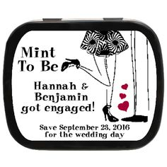 Fancy Dressed Personalized Engagement Party Favor Mint Tins | Mint to Be Bride and Grom Engagement Party Favors, Wedding Party Favors, Wedding Day, Mint Tins, Getting Engaged, Fancy, Bride, Pi Day Wedding, Wedding Bride