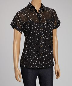 Look what I found on #zulily! Black Sheer Confetti Button-Up #zulilyfinds