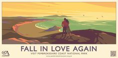 Image: Fall in Love Again Poster for 60th anniversary of the Pembrokeshire Coast National Park, 2012 © Pembrokeshire C...