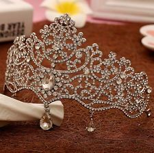 14.4 - 10Cm High Dangly Drip Full Crystal Tiara Crown Wedding Bridal Prom  Party Pageant   d60de0c3f3c6
