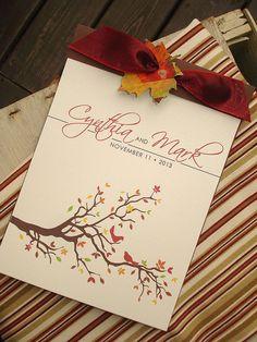 Autumn Love Birds Tree and Leaves Coverlet Booklet Wedding Ceremony Program - Sample