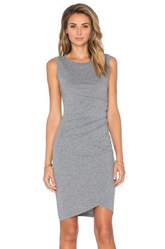 Bobi Supreme Jersey Crossover Ruched Dress in Thunder