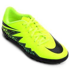 ab2ee80d31 Chuteira Nike Hypervenom Phelon 2 TF Society Infantil - Verde Limão+Preto Chuteiras  Nike