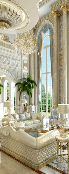 luxury mansion interior grand double-staircased foyer design