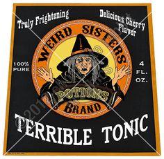 chocolaterabbit labels | Vintage Witch Halloween Label Potion Digital Download Image Collage ...