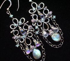 Labradorite Chandelier Earrings Silver Wire Wrapped Mystic Topaz Gemstone Handmade - Nina. $136.00, via Etsy.
