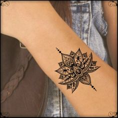 Temporary Tattoo Mandala Lotus Fake Tattoos Realistic Thin Durable Waterproof SIZE: 2.6H x 2W You will receive one tattoo and full instructions. The tattoos will last 7-10 days. Please read the full application instructions before applying the tattoo. Any questions please feel free