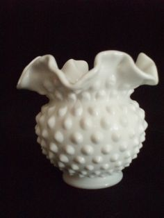 Fenton Milk Glass Hobnail Vase 1955 Number 3854MI FREE SHIP  $12.00 OBO ((OOOHHHH YYEEESSSS!!! WE ALL KNOW I LOVE FENTON GLASS / MILK GLASS / DEPRESSION GLASS!!! ITZ ONE OF THOSE GREAT BEAUTIES... I WANT I WANT!!!)) SWEETNESS!!!