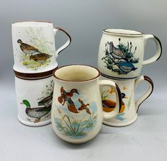 Excited to share this item from my shop: Set of 5 Vintage Mismatched Duck and Bird Themed Mugs/ Mixed Stoneware Large Coffee Cups Unique Vintage, Vintage Items, Vintage Coffee Cups, Cute Aprons, Vintage Kitchenware, Vintage Tablecloths, Mallard, Stoneware, Zip Code